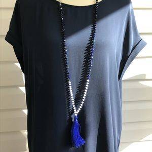 EXPRESS crystal beaded Royal Blue Tassel necklace